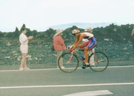Beth Davis racing the bike leg of the Hawaii Ironman, 1985