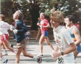 Beth Davis, foreground right, running in the New York City Marathon, 1982 – her first marathon.