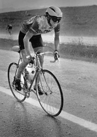 Beth riding in the hail during Rocky  Mountain News Bicycle Classic, in Littleton, Colorado, 1985.